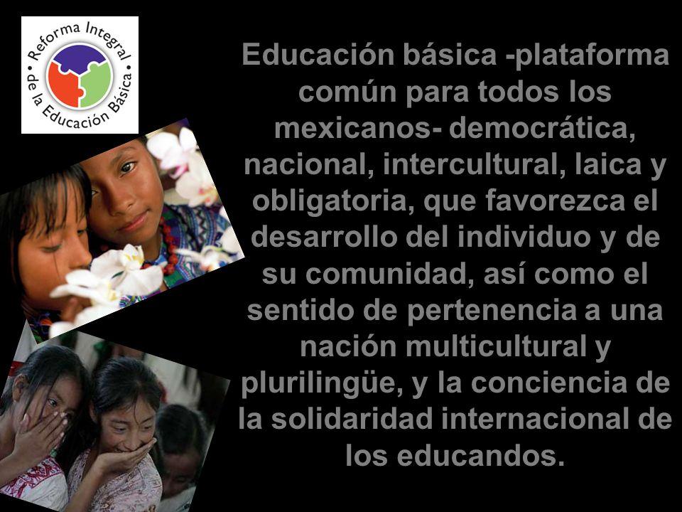 Educación básica -plataforma común para todos los mexicanos- democrática, nacional, intercultural, laica y obligatoria, que favorezca el desarrollo del individuo y de su comunidad, así como el sentido de pertenencia a una nación multicultural y plurilingüe, y la conciencia de la solidaridad internacional de los educandos.