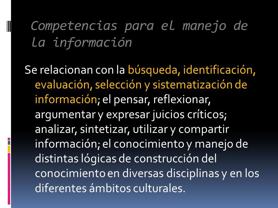 Competencias para el manejo de la información