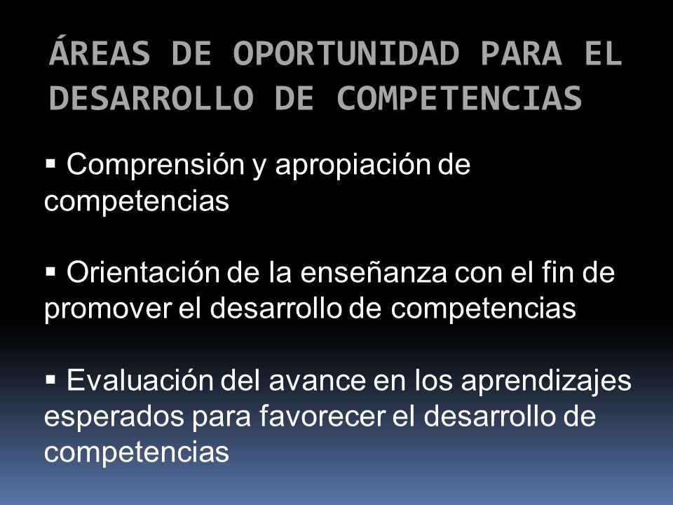 ÁREAS DE OPORTUNIDAD PARA EL DESARROLLO DE COMPETENCIAS