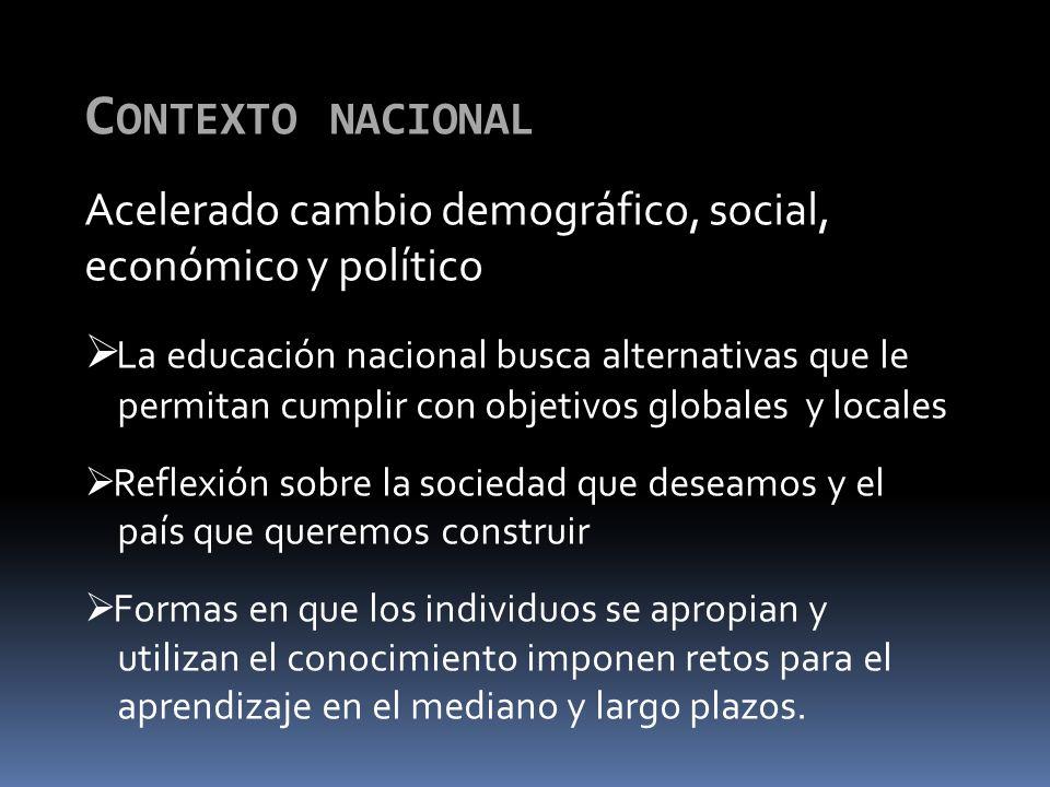 Contexto nacional Acelerado cambio demográfico, social, económico y político. La educación nacional busca alternativas que le.