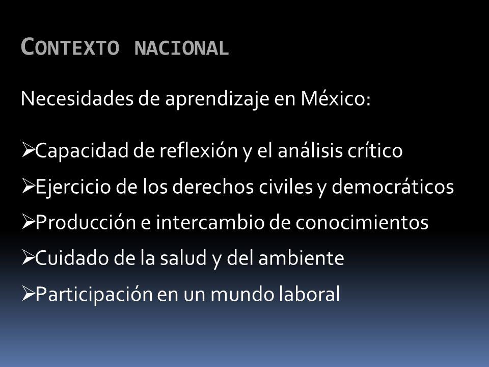 Contexto nacional Necesidades de aprendizaje en México: