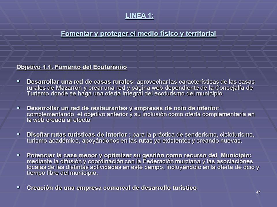 LINEA 1: Fomentar y proteger el medio físico y territorial