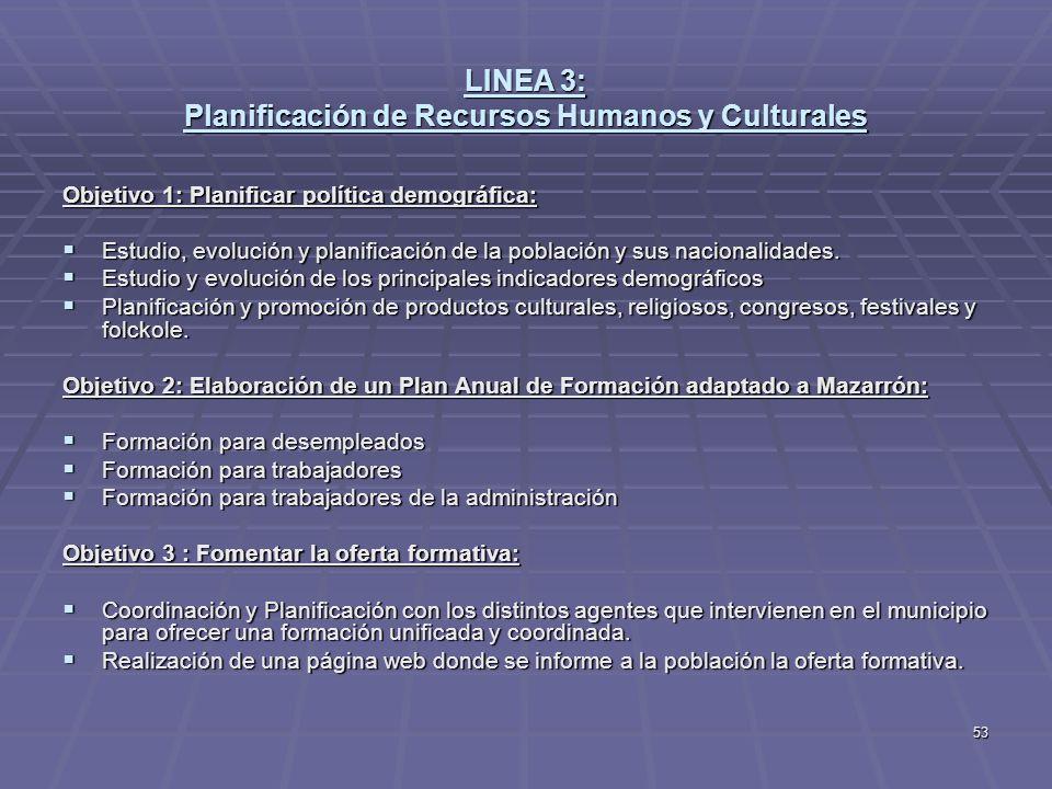 LINEA 3: Planificación de Recursos Humanos y Culturales