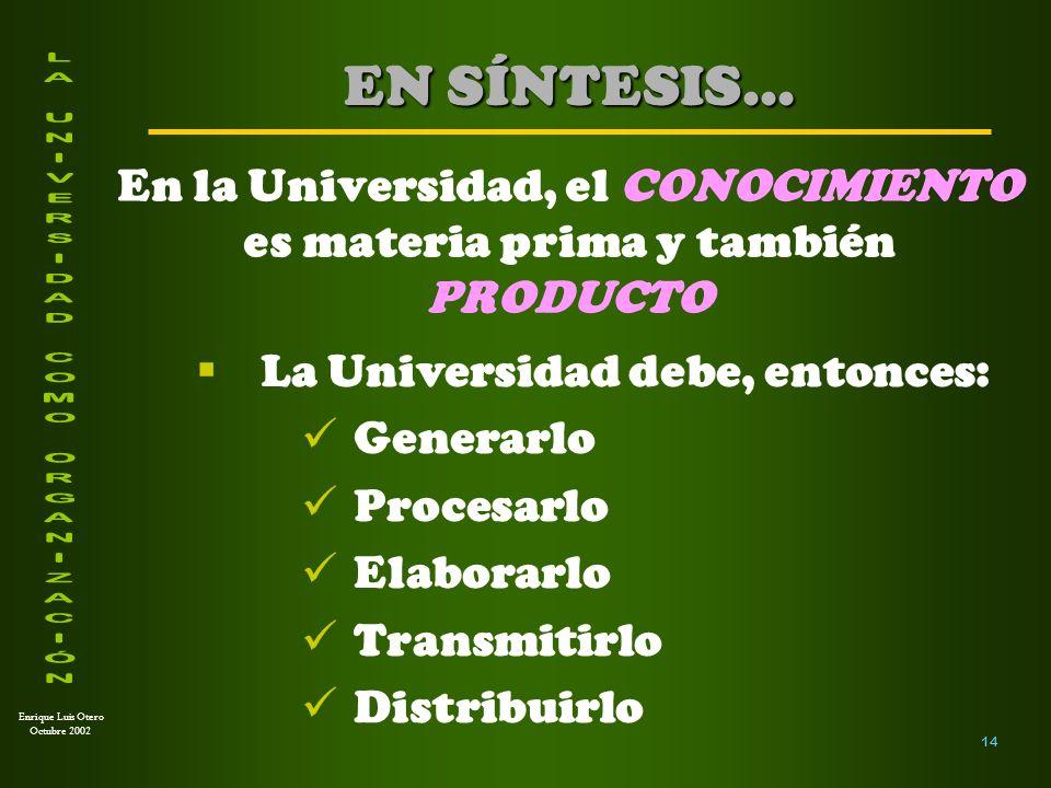 En la Universidad, el CONOCIMIENTO es materia prima y también PRODUCTO