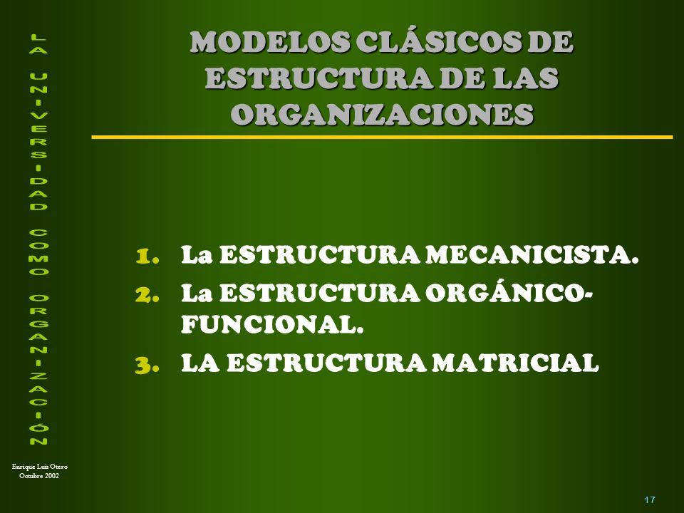 MODELOS CLÁSICOS DE ESTRUCTURA DE LAS ORGANIZACIONES