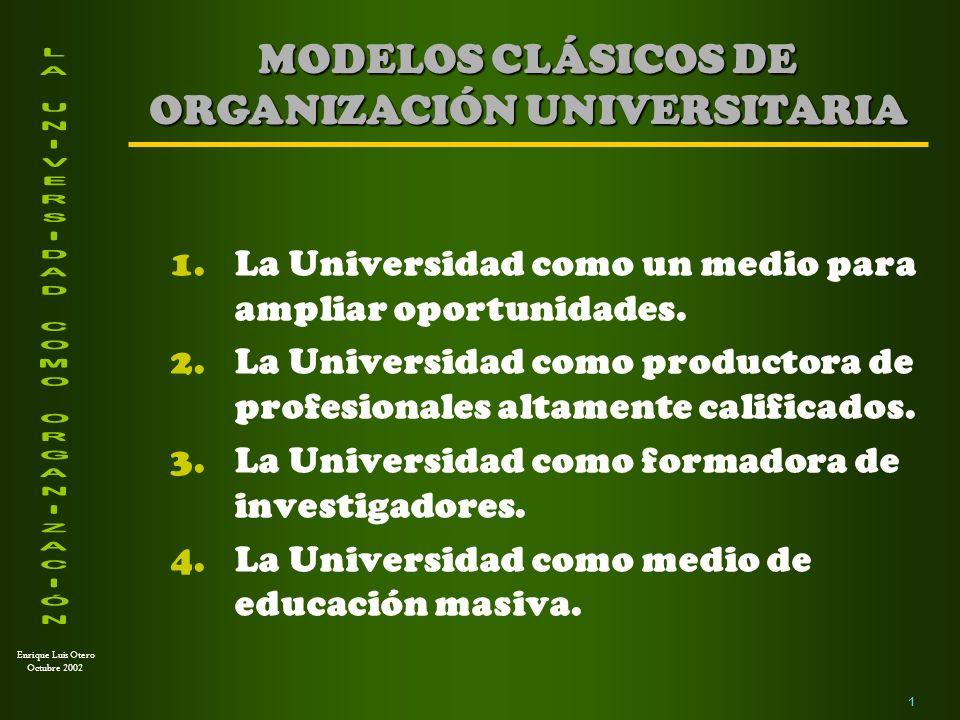 MODELOS CLÁSICOS DE ORGANIZACIÓN UNIVERSITARIA