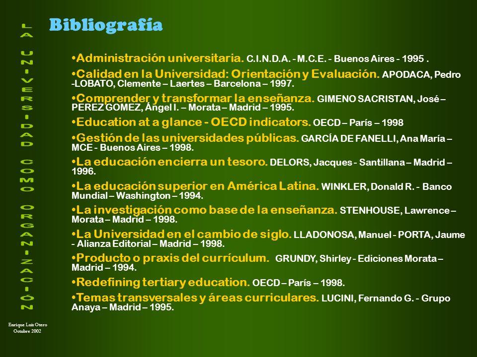 Bibliografía Administración universitaria. C.I.N.D.A. - M.C.E. - Buenos Aires - 1995 .