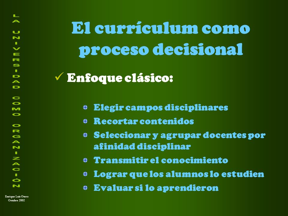 El currículum como proceso decisional