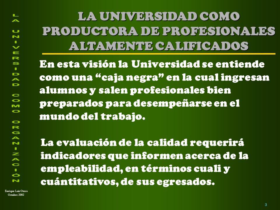 LA UNIVERSIDAD COMO PRODUCTORA DE PROFESIONALES ALTAMENTE CALIFICADOS