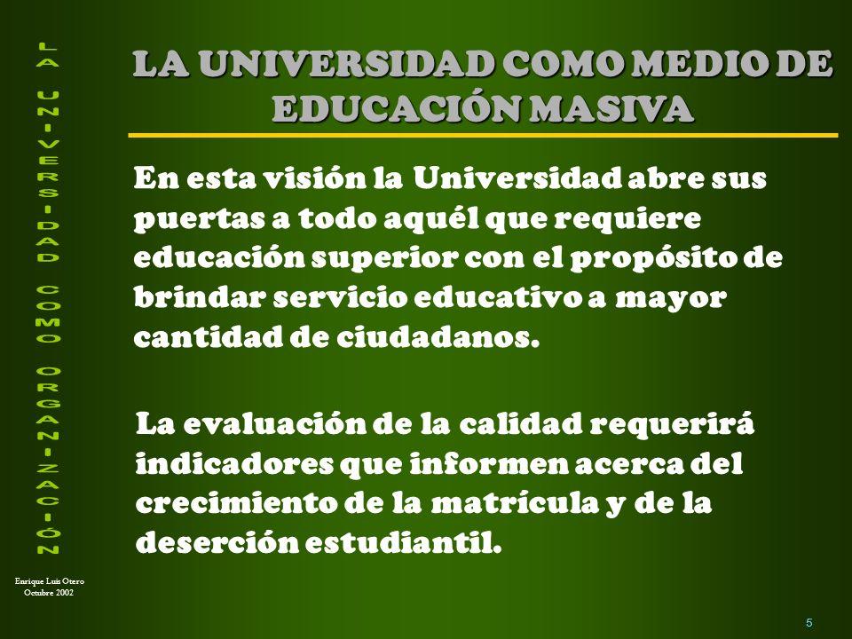 LA UNIVERSIDAD COMO MEDIO DE EDUCACIÓN MASIVA