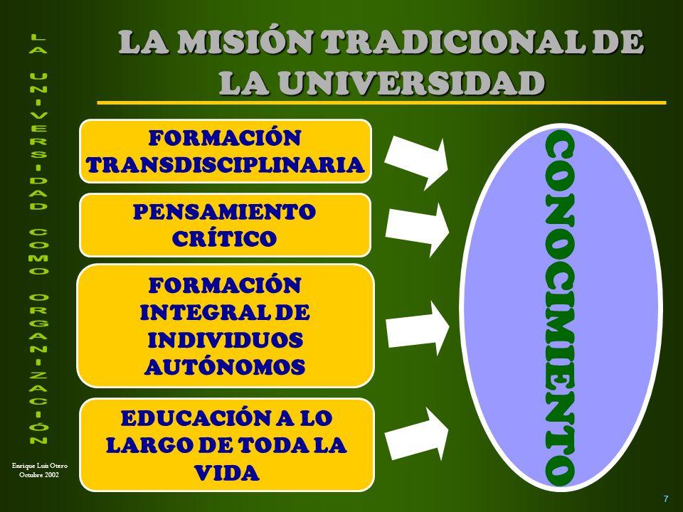 LA MISIÓN TRADICIONAL DE LA UNIVERSIDAD