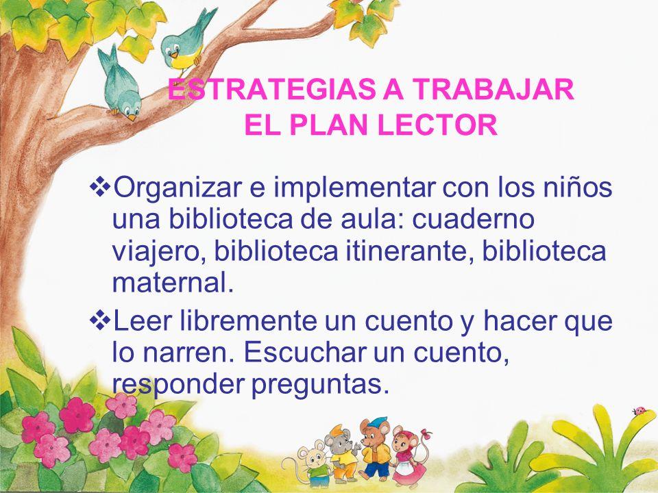 ESTRATEGIAS A TRABAJAR EL PLAN LECTOR