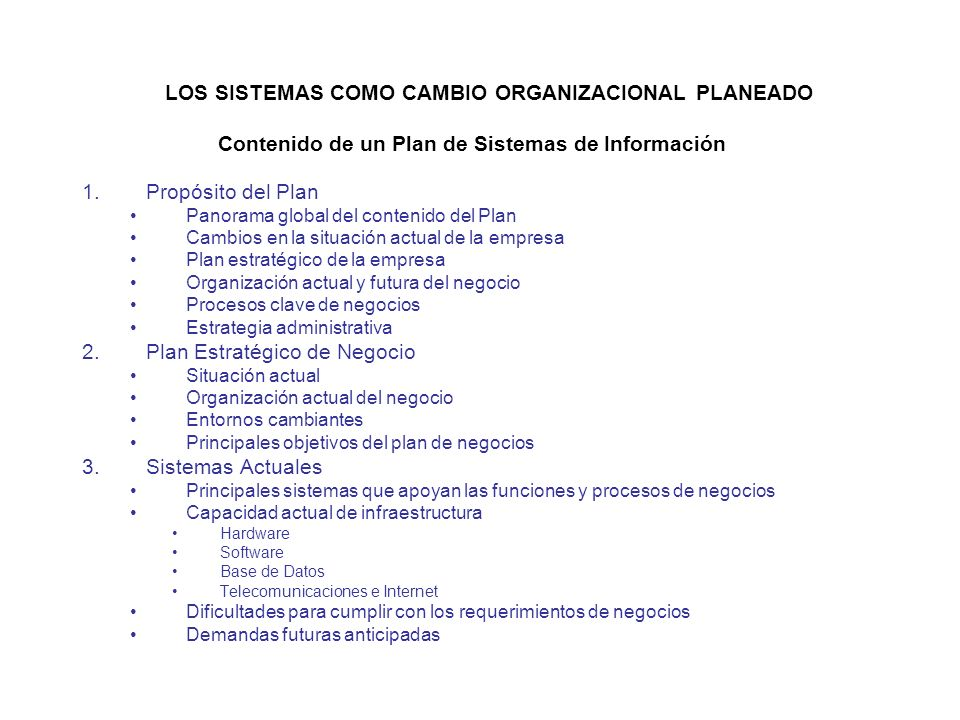 Contenido de un Plan de Sistemas de Información