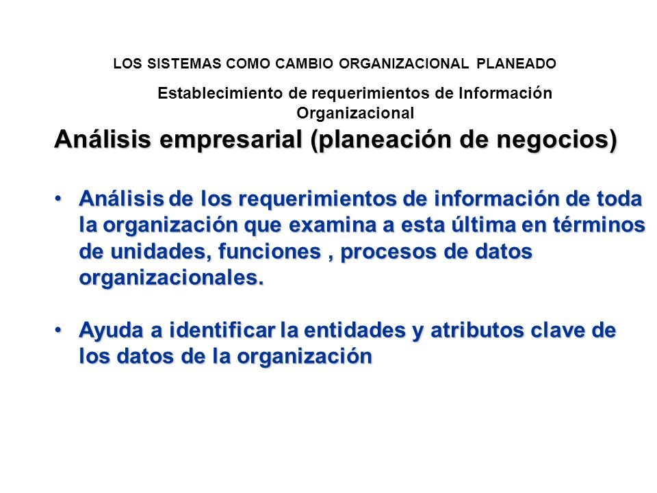 Establecimiento de requerimientos de Información Organizacional