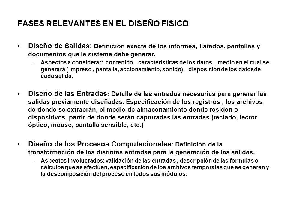 FASES RELEVANTES EN EL DISEÑO FISICO