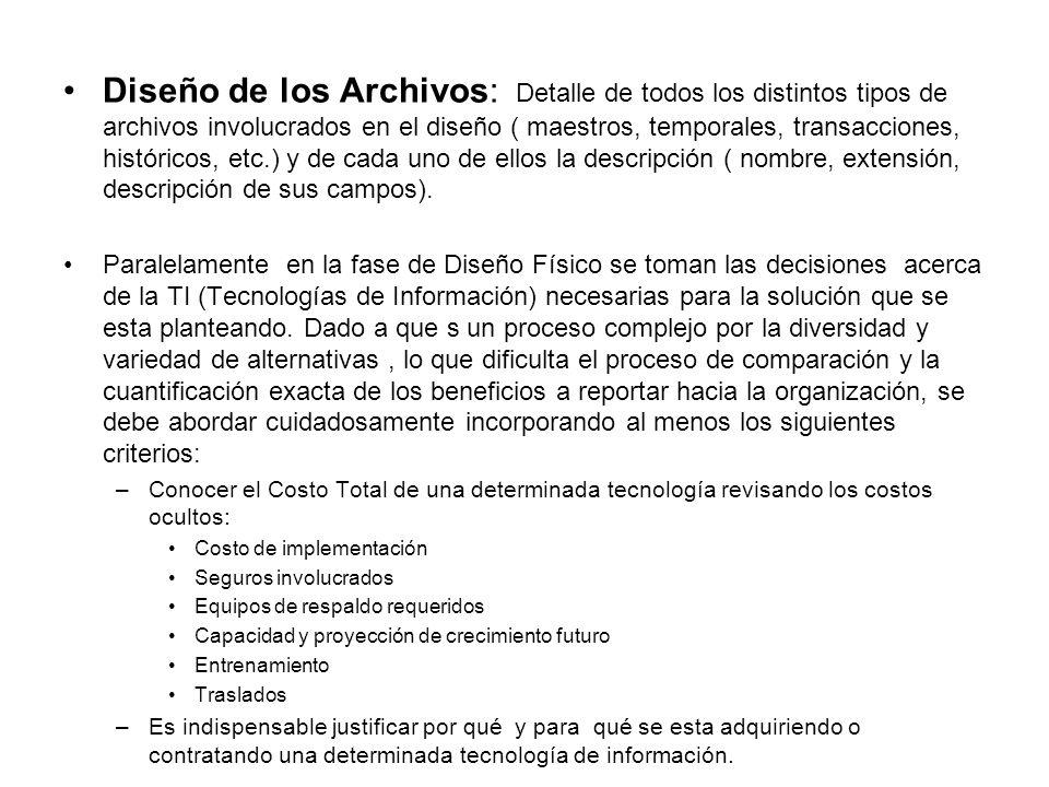 Diseño de los Archivos: Detalle de todos los distintos tipos de archivos involucrados en el diseño ( maestros, temporales, transacciones, históricos, etc.) y de cada uno de ellos la descripción ( nombre, extensión, descripción de sus campos).