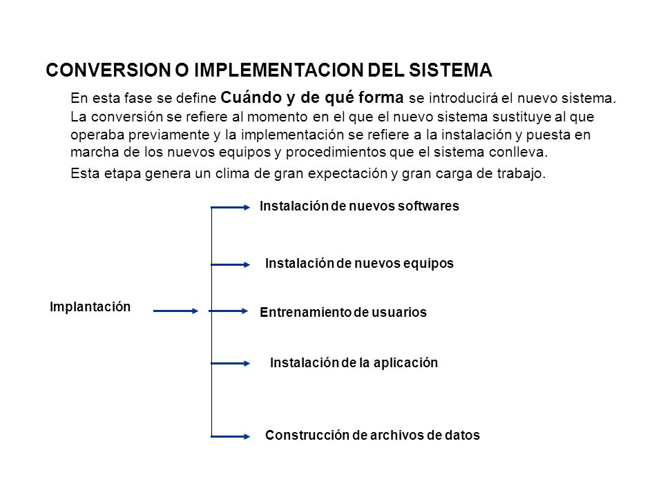 CONVERSION O IMPLEMENTACION DEL SISTEMA