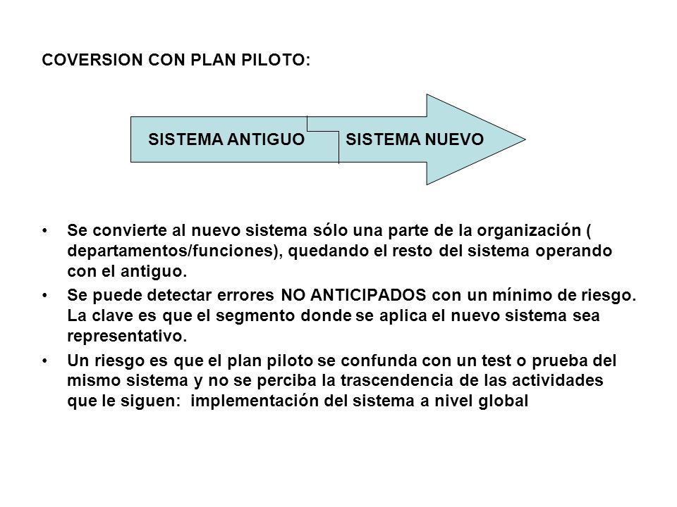 COVERSION CON PLAN PILOTO: