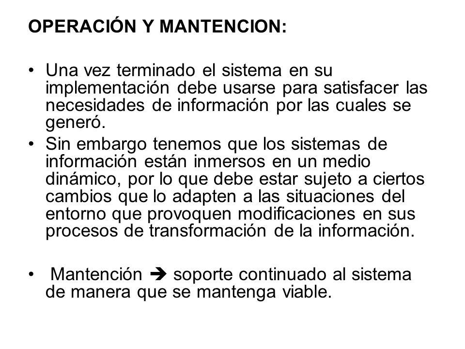 OPERACIÓN Y MANTENCION: