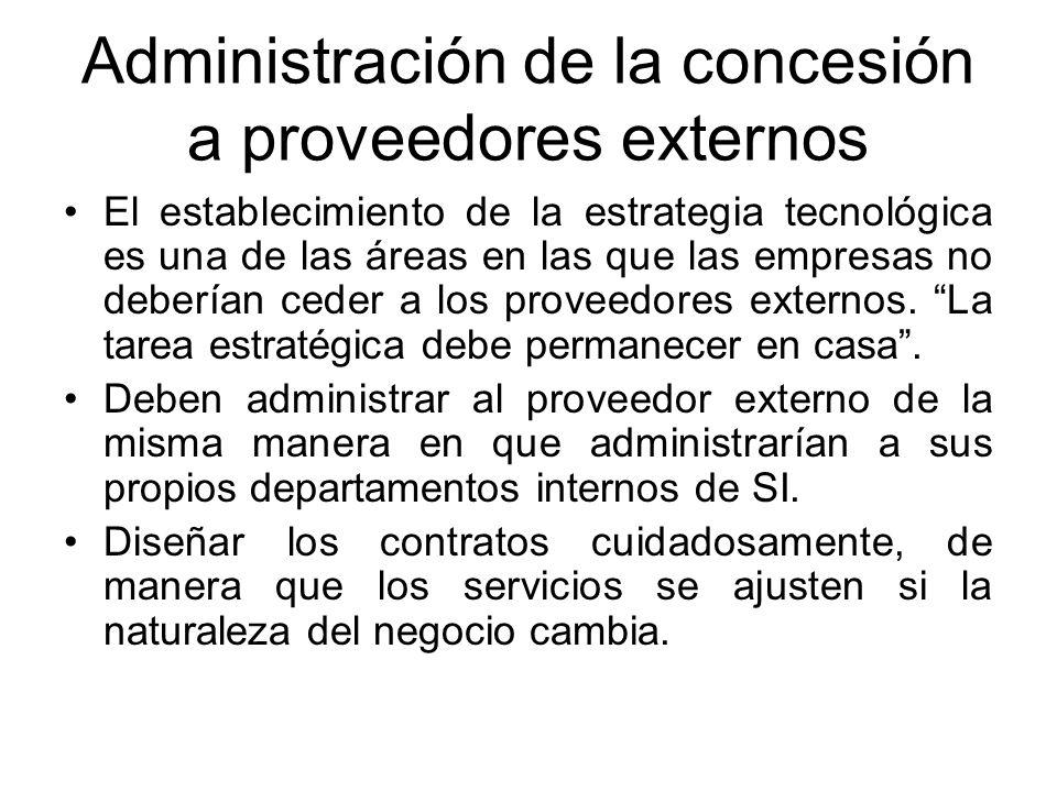 Administración de la concesión a proveedores externos