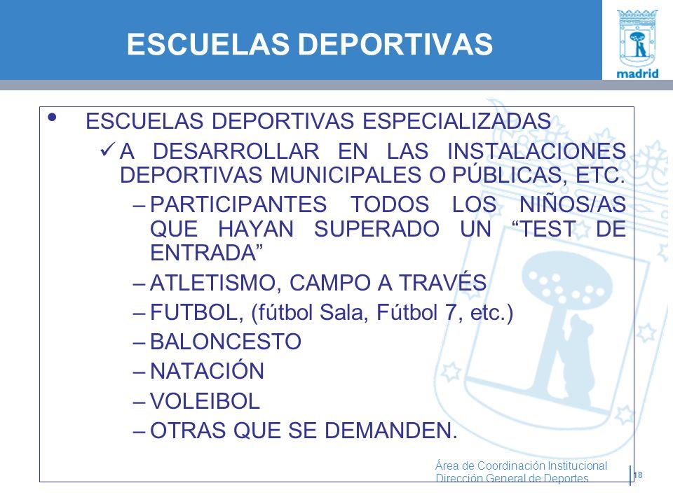 ESCUELAS DEPORTIVAS ESCUELAS DEPORTIVAS ESPECIALIZADAS