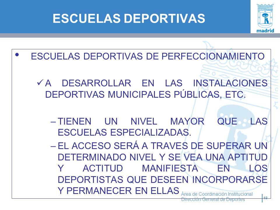 ESCUELAS DEPORTIVAS ESCUELAS DEPORTIVAS DE PERFECCIONAMIENTO