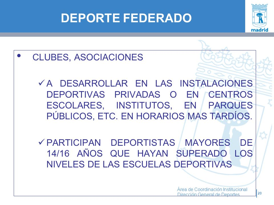 DEPORTE FEDERADO CLUBES, ASOCIACIONES