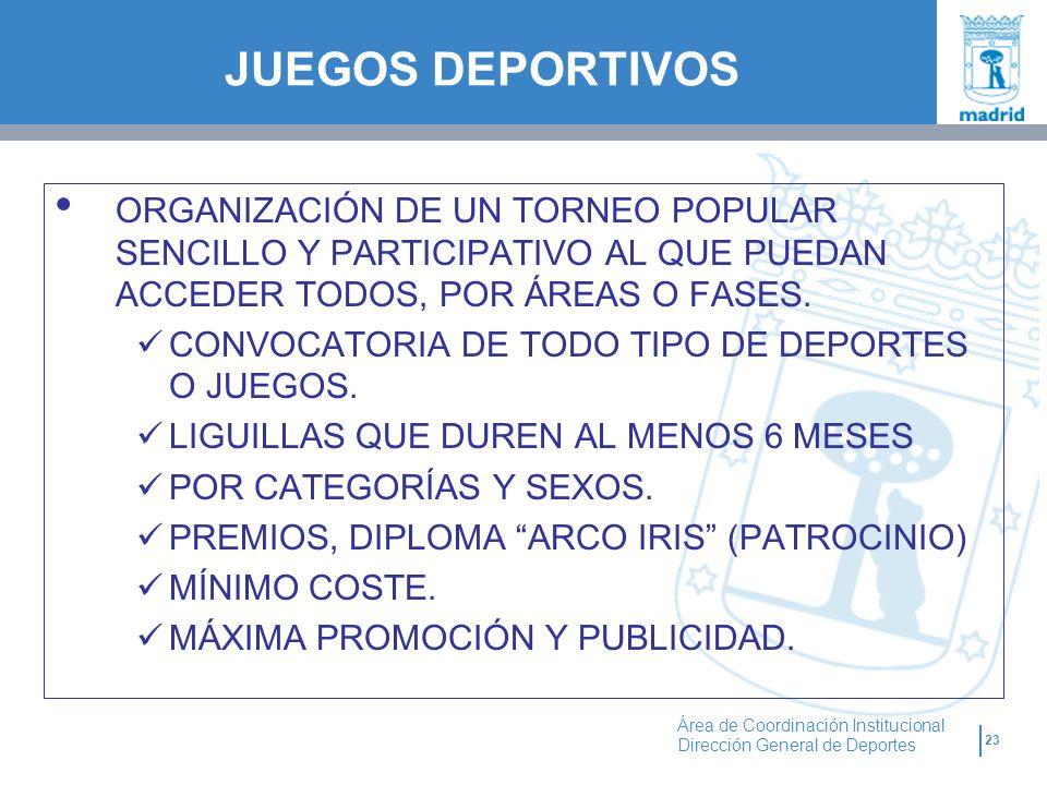 JUEGOS DEPORTIVOS ORGANIZACIÓN DE UN TORNEO POPULAR SENCILLO Y PARTICIPATIVO AL QUE PUEDAN ACCEDER TODOS, POR ÁREAS O FASES.