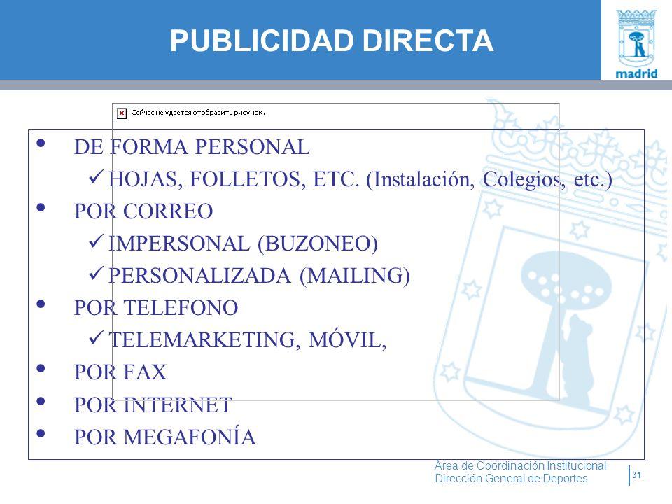 PUBLICIDAD DIRECTA DE FORMA PERSONAL