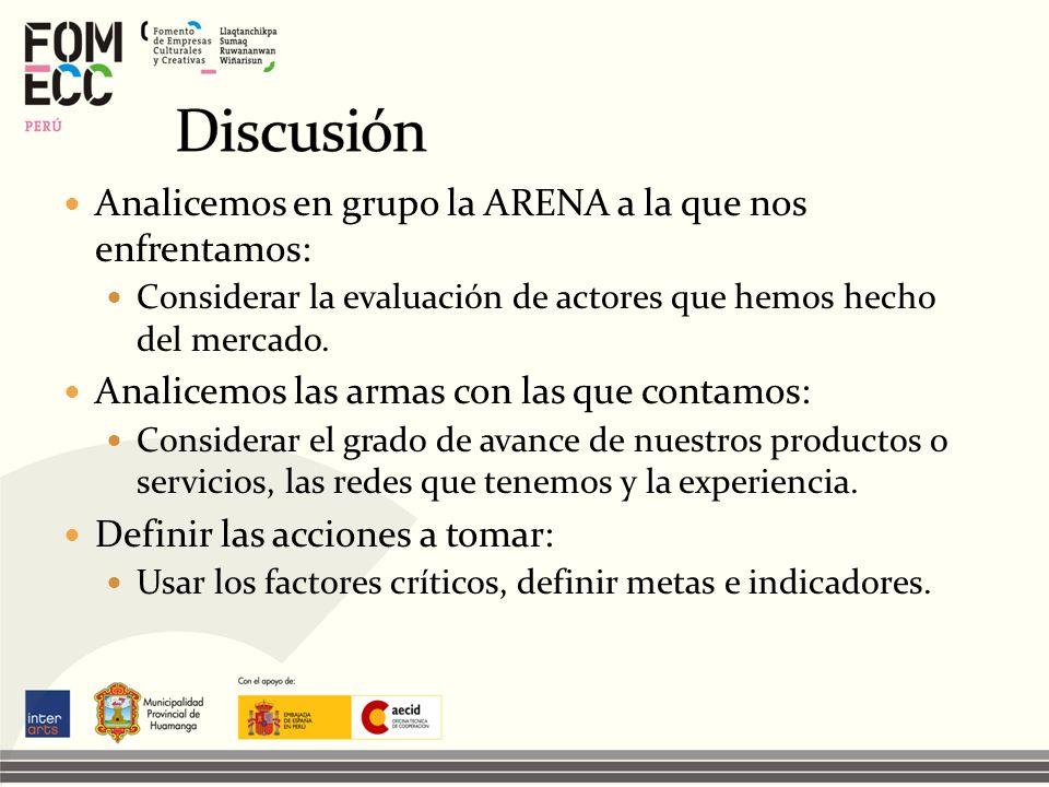 Discusión Analicemos en grupo la ARENA a la que nos enfrentamos: