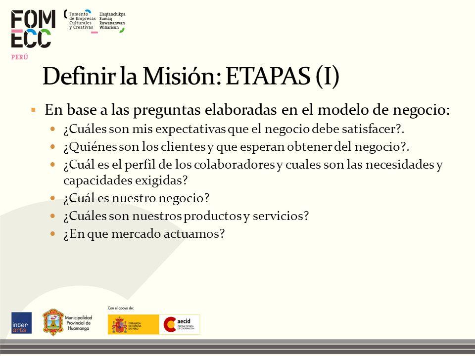 Definir la Misión: ETAPAS (I)