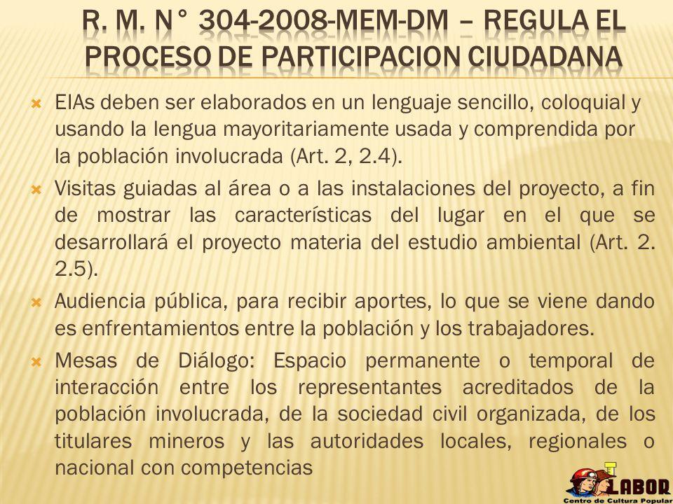 R. M. N° 304-2008-mem-dm – regula el proceso de participacion ciudadana