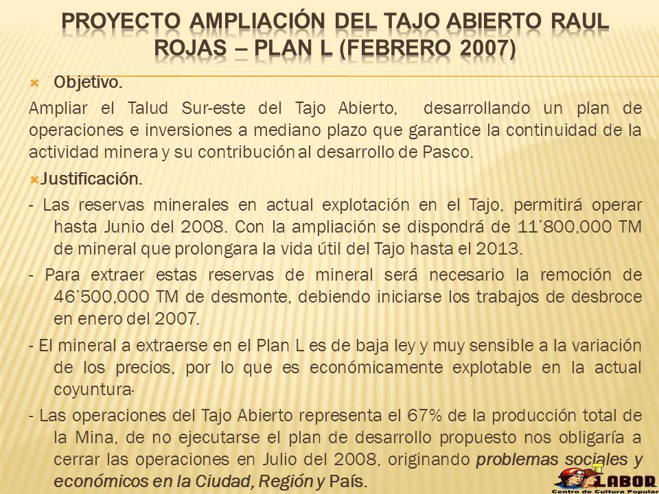 Proyecto ampliación del tajo abierto raul rojas – plan l (febrero 2007)
