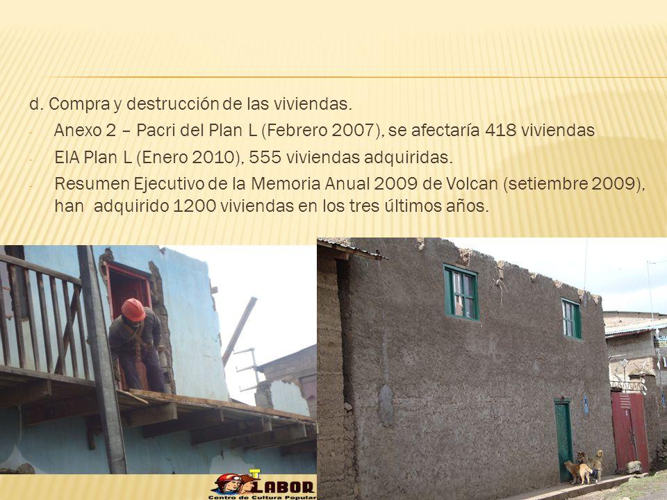 d. Compra y destrucción de las viviendas.