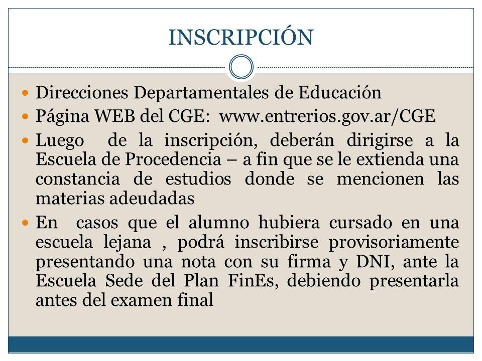 INSCRIPCIÓN Direcciones Departamentales de Educación