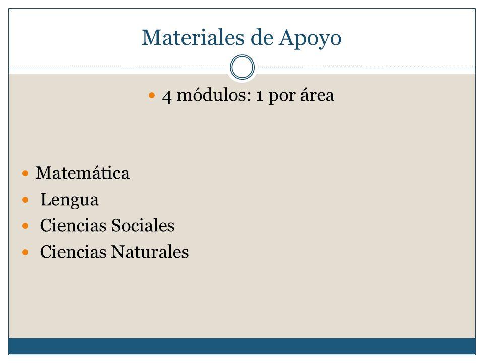 Materiales de Apoyo 4 módulos: 1 por área Matemática Lengua