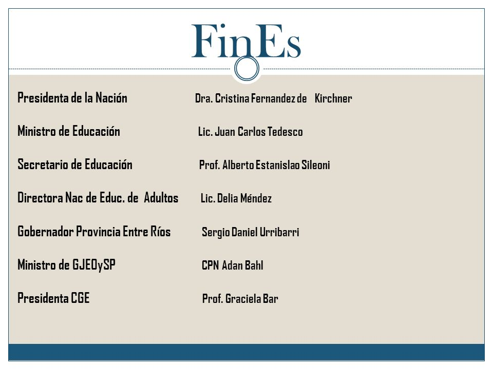 FinEs Presidenta de la Nación Dra. Cristina Fernandez de Kirchner