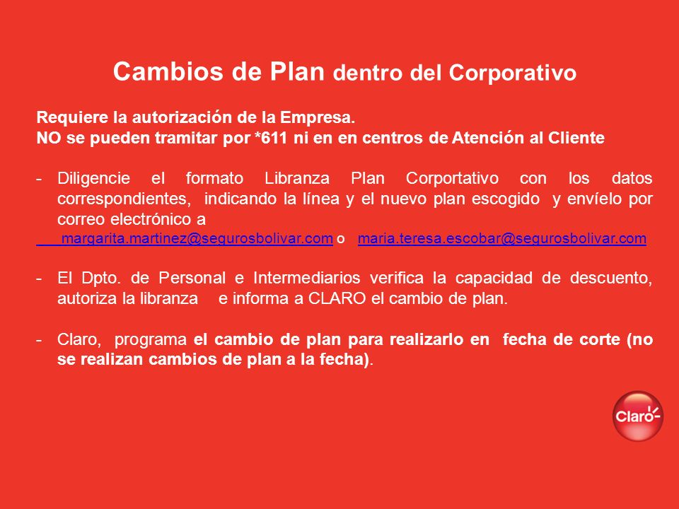 Cambios de Plan dentro del Corporativo