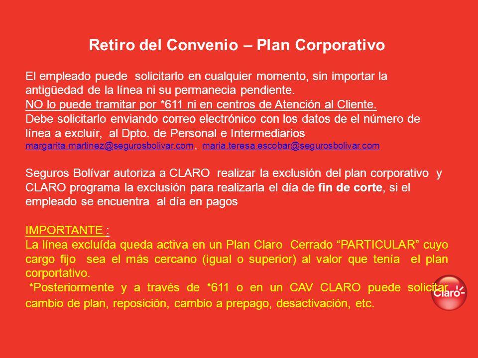 Retiro del Convenio – Plan Corporativo