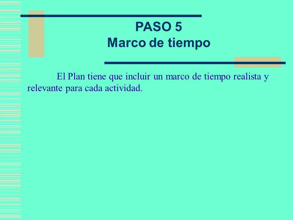 PASO 5 Marco de tiempo.
