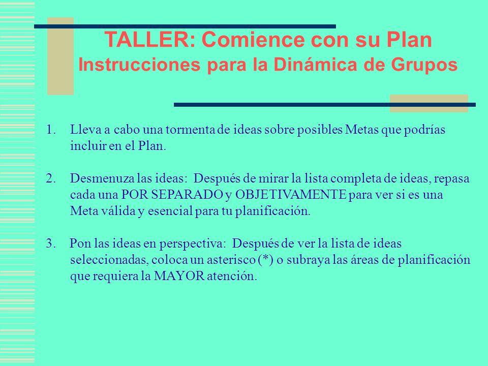 TALLER: Comience con su Plan Instrucciones para la Dinámica de Grupos