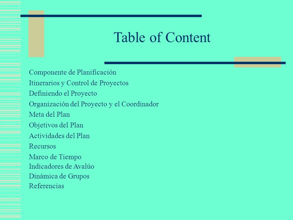 Table of Content Componente de Planificación