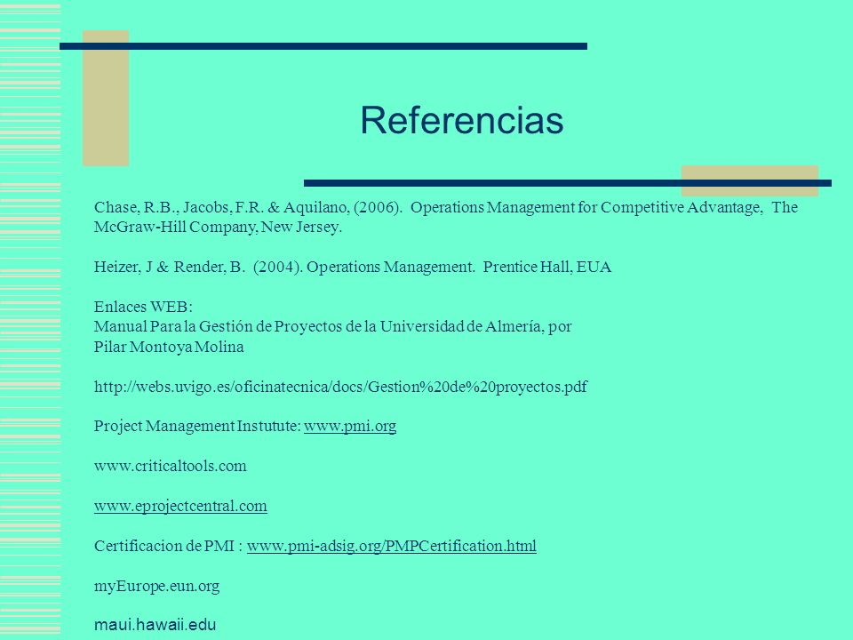 ReferenciasChase, R.B., Jacobs, F.R. & Aquilano, (2006). Operations Management for Competitive Advantage, The McGraw-Hill Company, New Jersey.