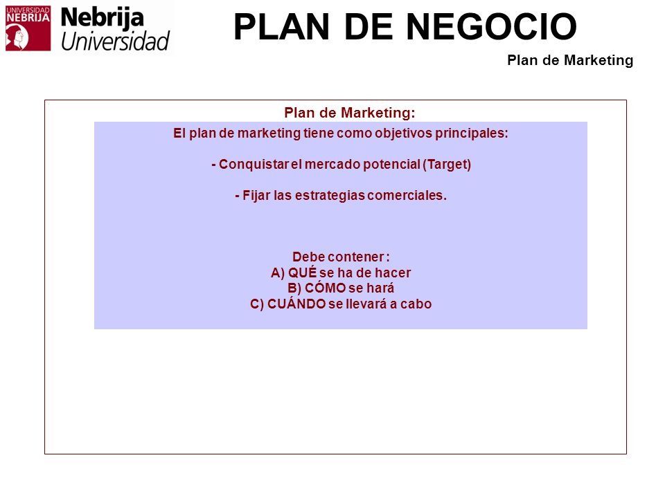 Plan de Marketing Plan de Marketing: