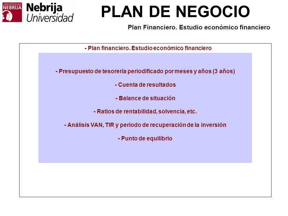 Plan Financiero. Estudio económico financiero