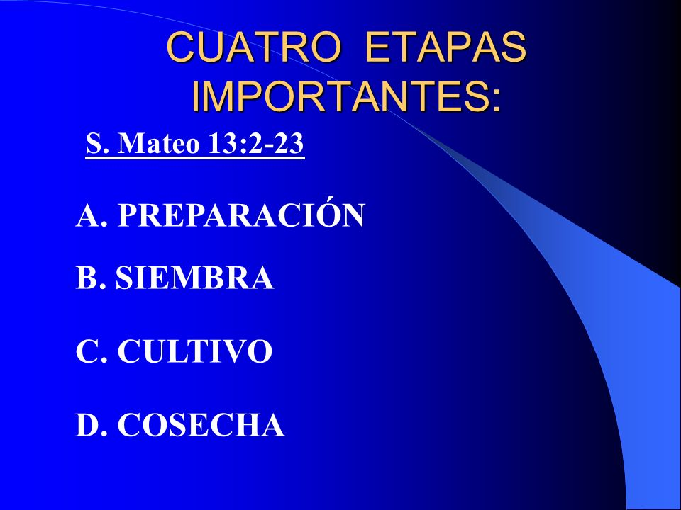 CUATRO ETAPAS IMPORTANTES: