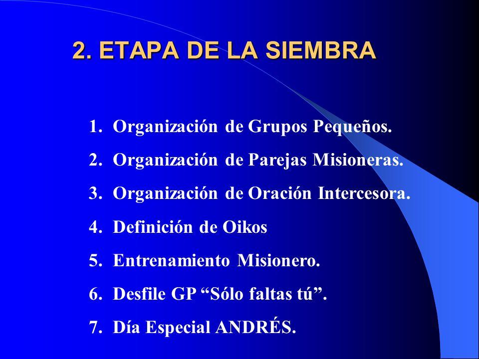 2. ETAPA DE LA SIEMBRA Organización de Grupos Pequeños.