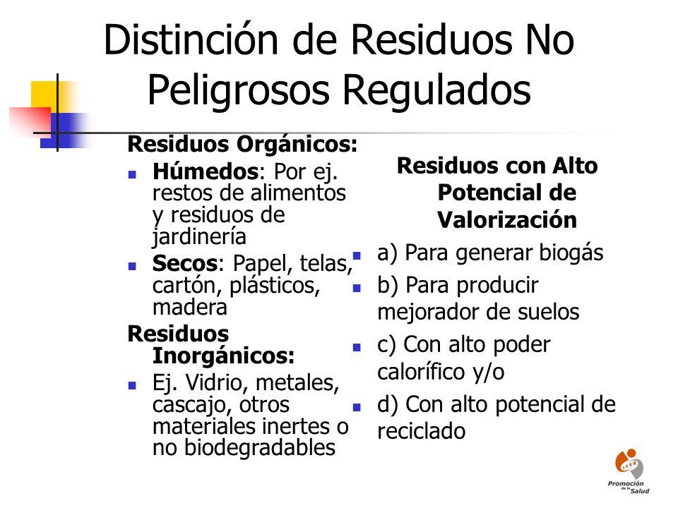 Distinción de Residuos No Peligrosos Regulados