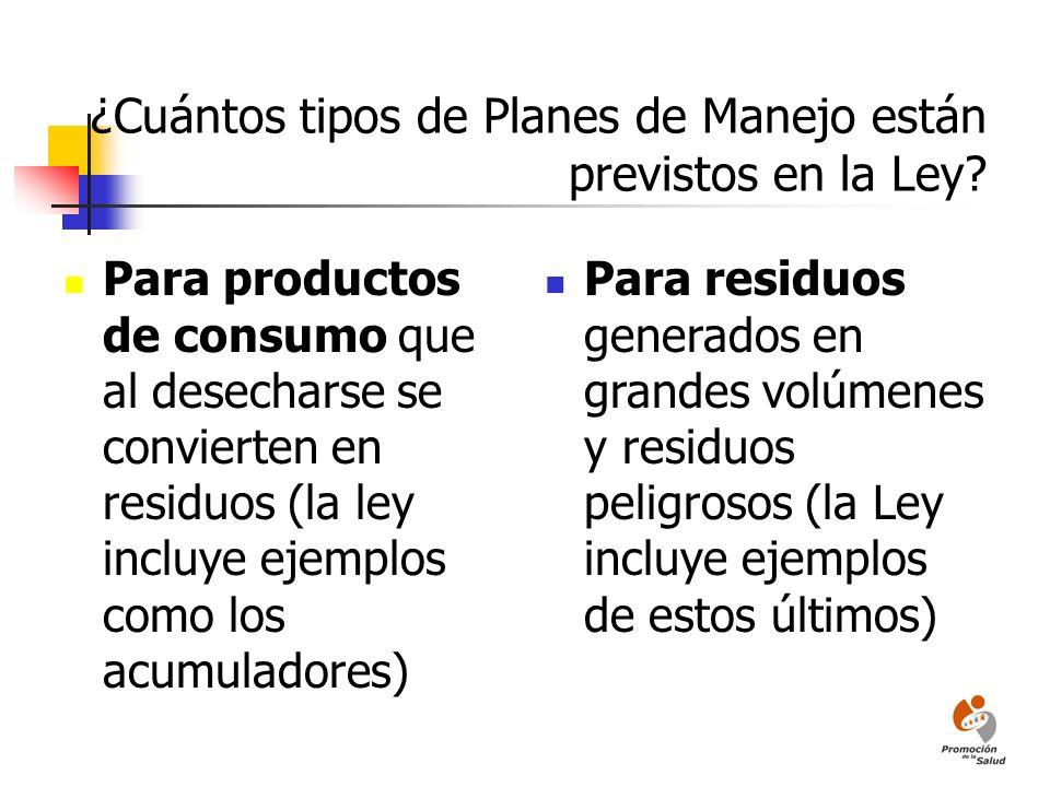 ¿Cuántos tipos de Planes de Manejo están previstos en la Ley