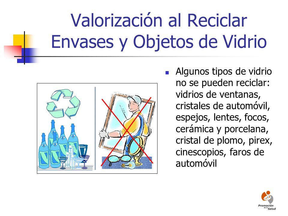 Valorización al Reciclar Envases y Objetos de Vidrio
